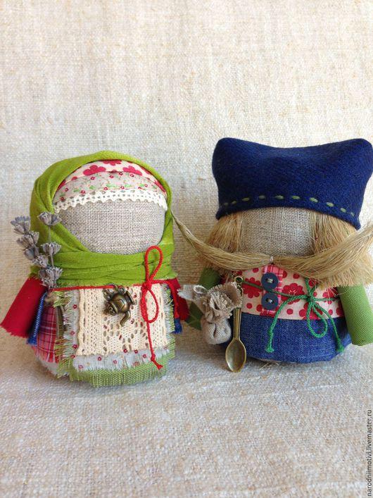 Народные куклы ручной работы, Купить куклы-обереги Крупеничка и Богач, оберег для дома, оберег на достаток, оберег на благополучие, русский стиль, русская традиция, зеленый, синий, красный