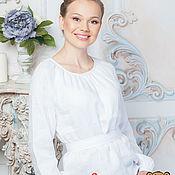 Одежда handmade. Livemaster - original item Blouse white linen. Handmade.