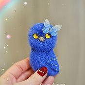 handmade. Livemaster - original item Owl with butterfly felted brooch. Handmade.