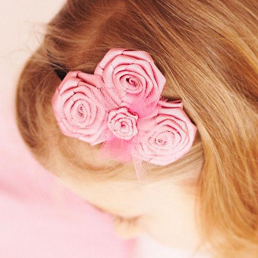 """Детская бижутерия ручной работы. Ярмарка Мастеров - ручная работа. Купить """"Розовые розы"""" повязка на голову с розами из лент. Handmade."""