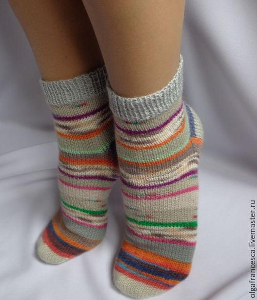 Носки, гольфы, чулки, сапожки ручной работы. Носки вязаные шерстяные. Тонкие шерстяные носочки «Полосатики» из коллекции «Подарки». Olgafrancesca . Ярмарка мастеров.
