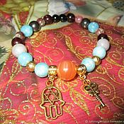 Украшения handmade. Livemaster - original item Bracelet with tourmaline amazonite garnet to Finance talisman. Handmade.