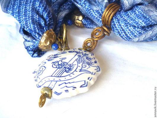 """Колье, бусы ручной работы. Ярмарка Мастеров - ручная работа. Купить Колье """"Синяя цапля"""". Handmade. Синий, шелковое колье"""
