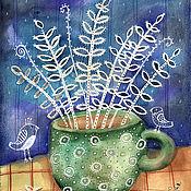 """Картины ручной работы. Ярмарка Мастеров - ручная работа Картина """"Белое в зеленом"""". Handmade."""