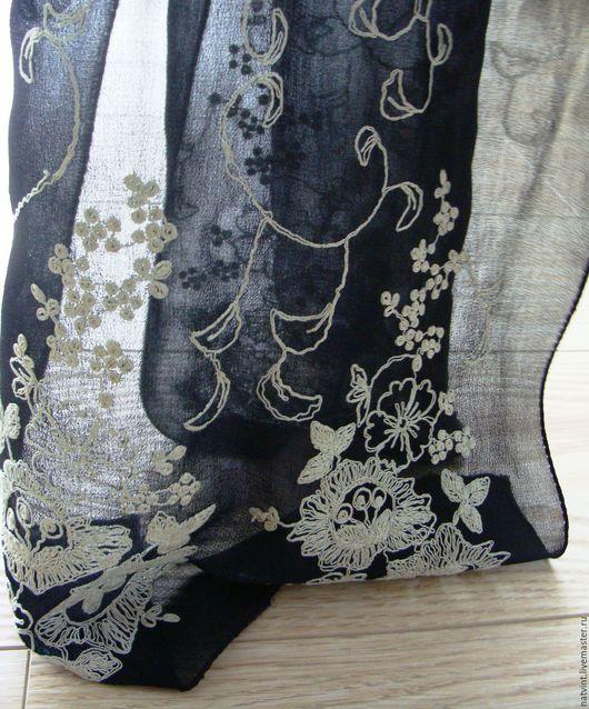 Винтажная одежда и аксессуары. Ярмарка Мастеров - ручная работа. Купить Винтажный шарф с ручной вышивкой, Германия. Handmade. Чёрно-белый