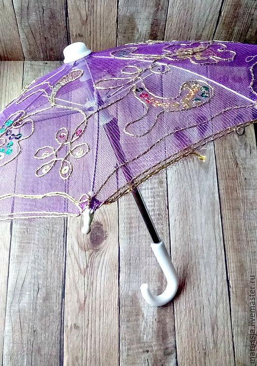 Другие виды рукоделия ручной работы. Ярмарка Мастеров - ручная работа. Купить Зонтик декоративный фиолетовый. Handmade. Зонт
