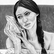 """Картины и панно ручной работы. Ярмарка Мастеров - ручная работа Портрет """"Мечты о море"""". Handmade."""