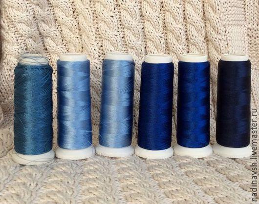 Вышивка ручной работы. Ярмарка Мастеров - ручная работа. Купить Вискозный шелк синий. Handmade. Нитки, вышивка, вискозный шёлк