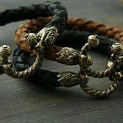 Украшения handmade. Livemaster - original item Men`s lion bracelet is made of genuine leather and bronze. Handmade.