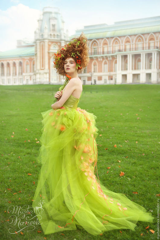 Платья ручной работы. Ярмарка Мастеров - ручная работа. Купить Платье Nymph Green. Handmade. Ярко-зелёный, платье в пол