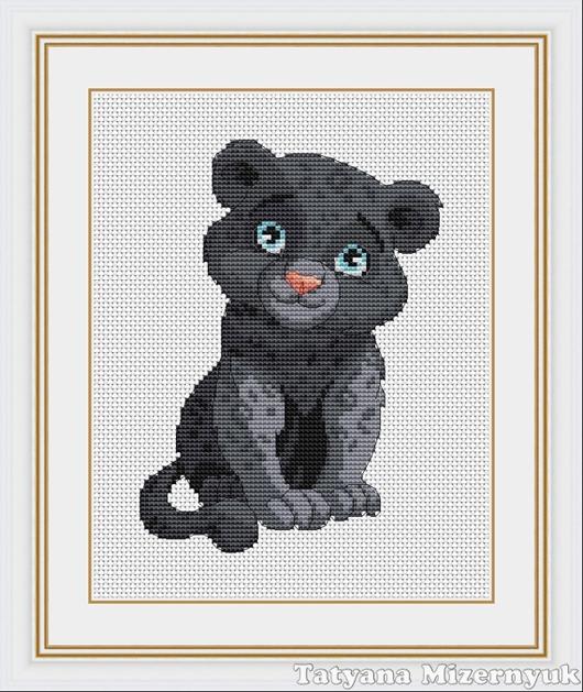 """Вышивка ручной работы. Ярмарка Мастеров - ручная работа. Купить Схема для вышивки крестиком """"Чёрная пантера"""". Handmade."""