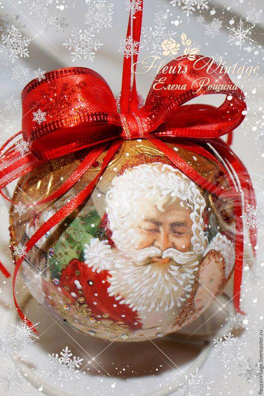 """Новый год 2017 ручной работы. Ярмарка Мастеров - ручная работа. Купить Новогодний шар """"Дед Мороз"""". Handmade. Ярко-красный"""