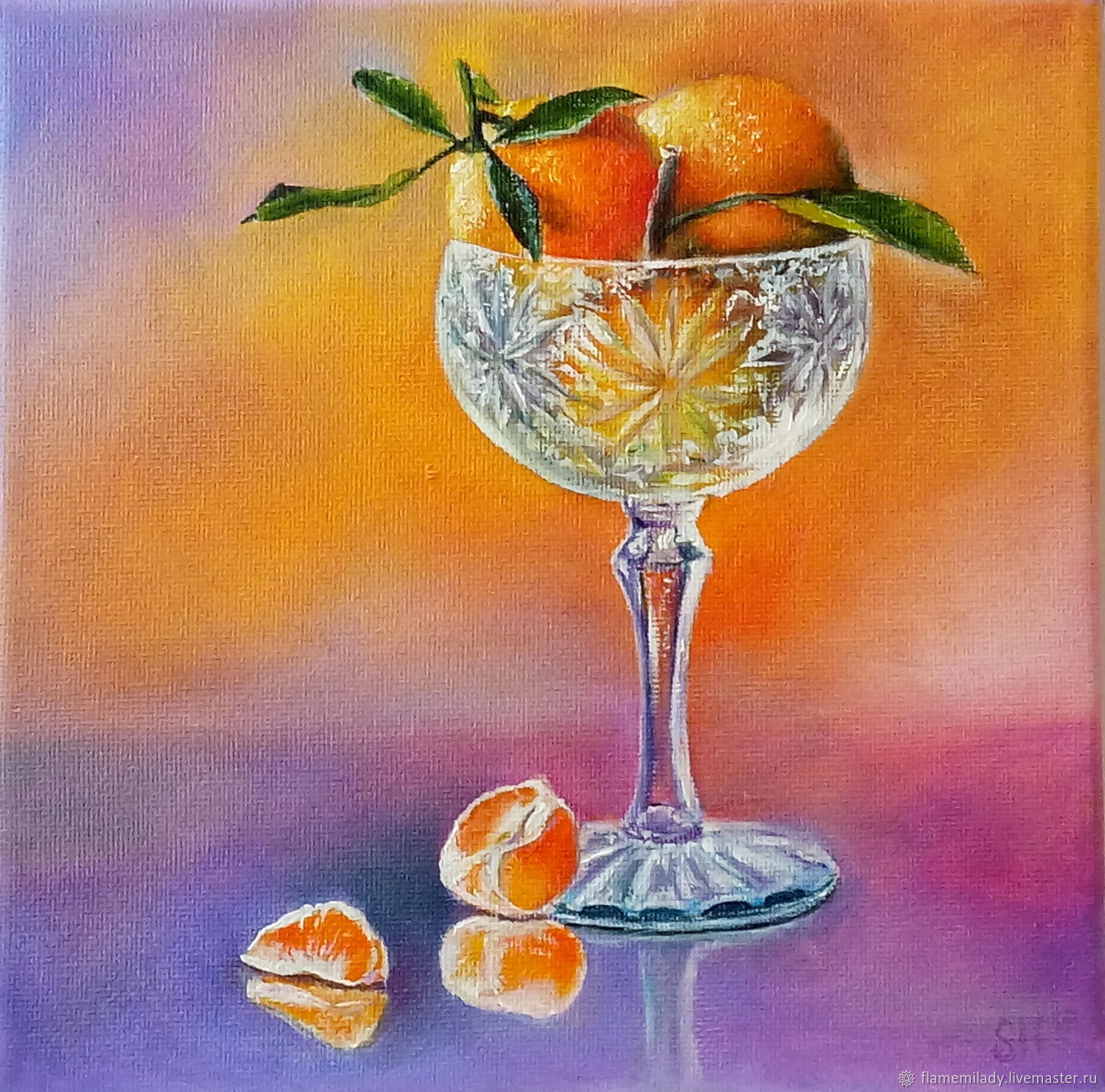 Still life in oil ' Tangerines in a cream bowl', Pictures, Ekaterinburg,  Фото №1