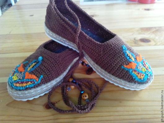 """Обувь ручной работы. Ярмарка Мастеров - ручная работа. Купить Мокасины вязаные """"Сафари"""" (улица). Handmade. Коричневый, вязаная обувь"""