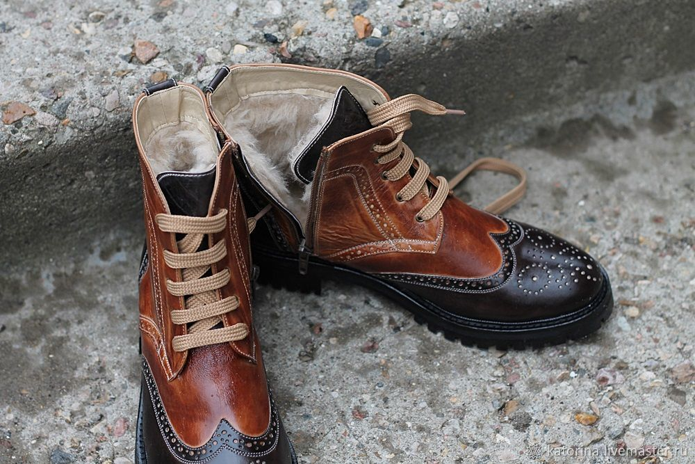 Boots moccasin leather with uneven combined, Boots, Moscow,  Фото №1