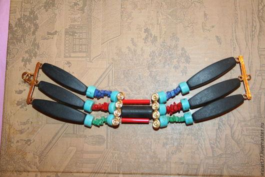 """Браслеты ручной работы. Ярмарка Мастеров - ручная работа. Купить Браслет """"Апачи"""". Handmade. Браслет из камней, бирюза натуральная, шунгит"""