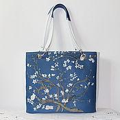 "Сумки и аксессуары handmade. Livemaster - original item Van Gogh. Leather blue white bag ""Almond Blossoms"". Handmade."
