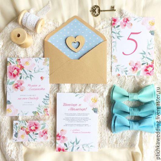 Свадебные аксессуары ручной работы. Ярмарка Мастеров - ручная работа. Купить Акварельные цветочные свадебные мятно-розовые приглашения Мята и роза. Handmade.
