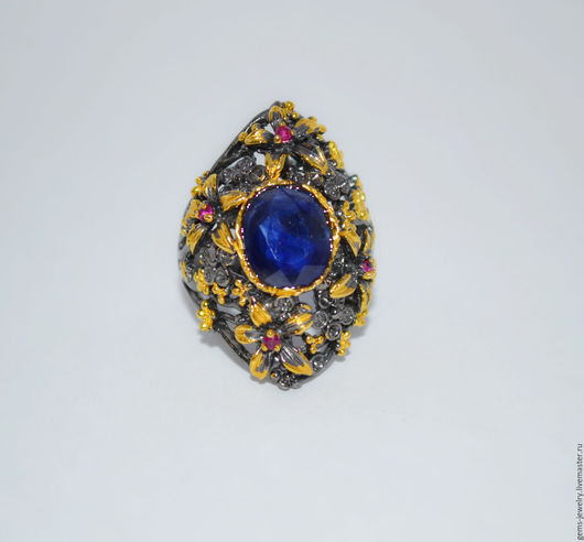 Кольца ручной работы. Ярмарка Мастеров - ручная работа. Купить Без повторов! Кольцо с бархатным сапфиром в цветочном дизайне. Handmade.