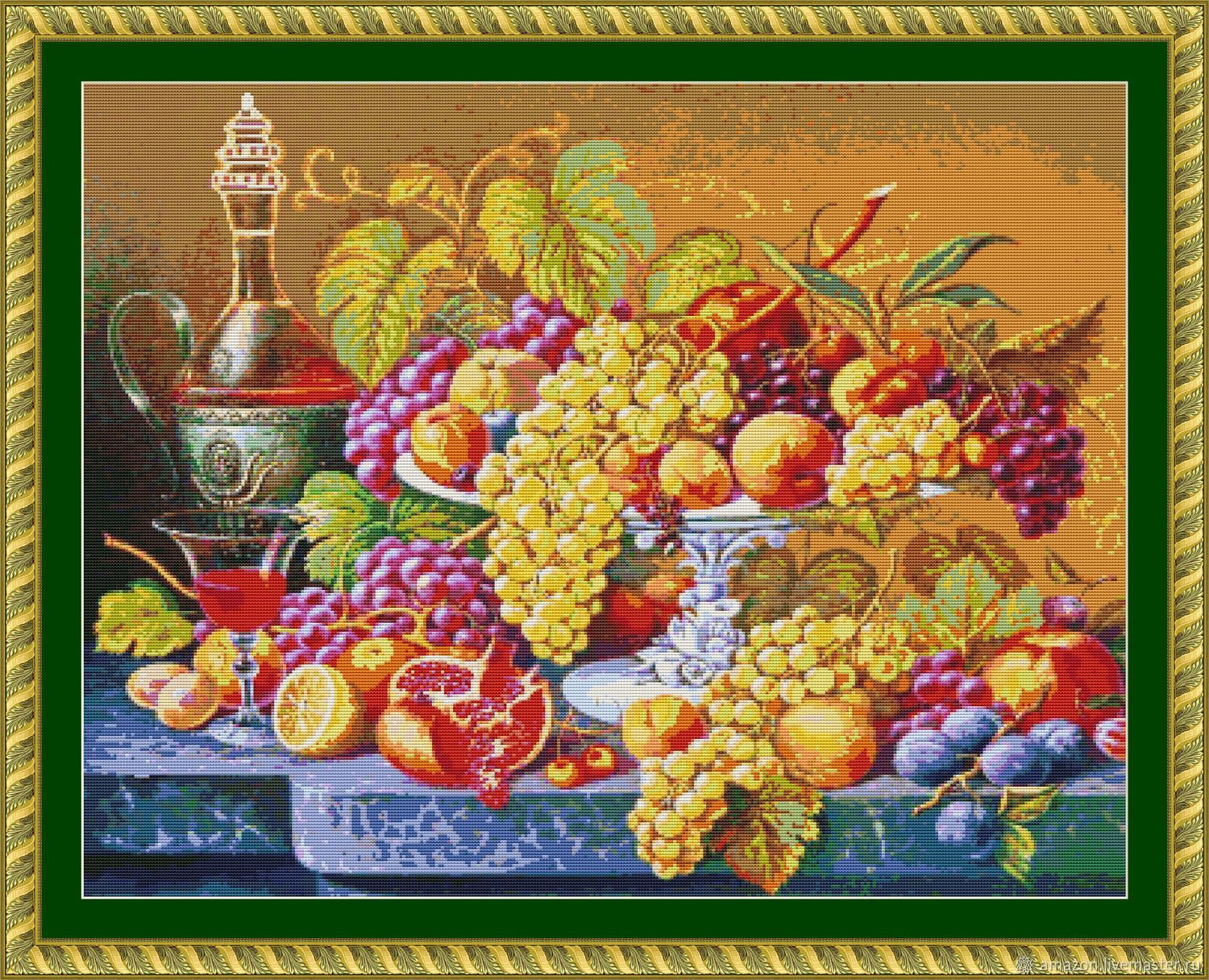 Kit embroidery with beads 'still life with red wine'', Creator\'s Kit, Ufa,  Фото №1