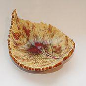 """Посуда ручной работы. Ярмарка Мастеров - ручная работа Подставка для украшений """"Лист малины"""". Handmade."""
