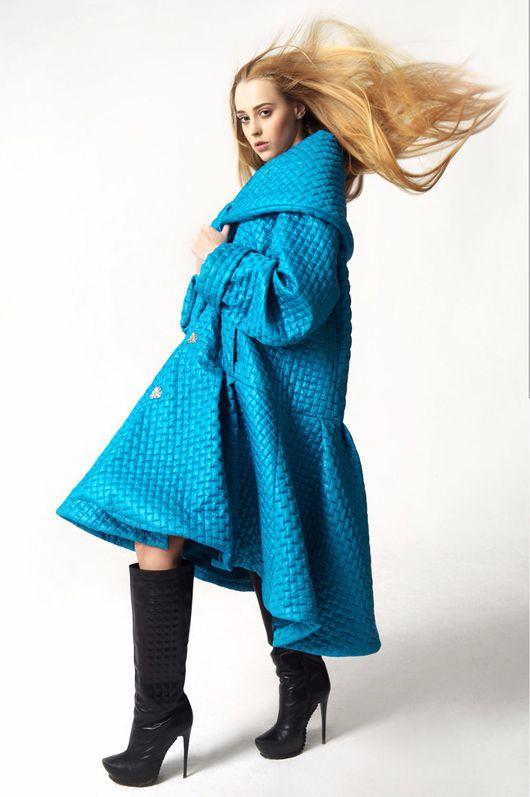 Верхняя одежда ручной работы. Ярмарка Мастеров - ручная работа. Купить Стеганое пальто оверсайз. Handmade. Бирюзовый, Дизайнерское пальто