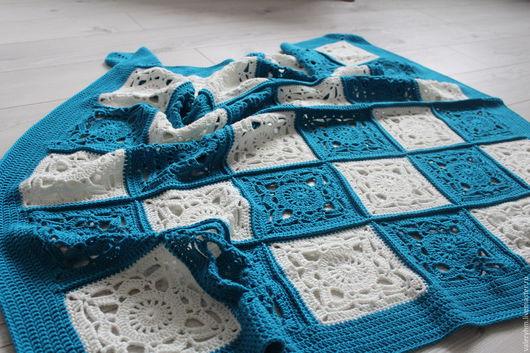 Текстиль, ковры ручной работы. Ярмарка Мастеров - ручная работа. Купить Детский вязаный плед из квадратных мотивов. Handmade. Комбинированный