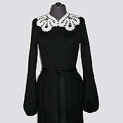 Одежда ручной работы. Ярмарка Мастеров - ручная работа Платье с разными воротниками черное. Handmade.