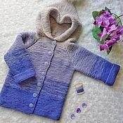 Работы для детей, handmade. Livemaster - original item Knitted children`s cardigan Lavender. Handmade.