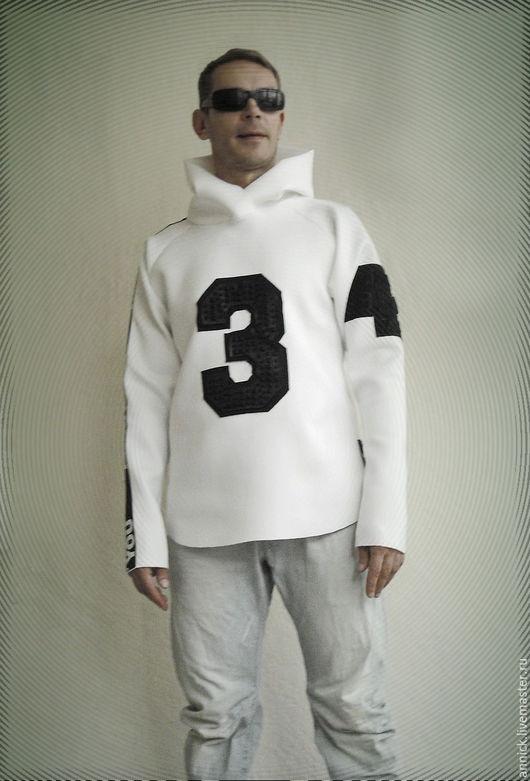 Верхняя одежда ручной работы. Ярмарка Мастеров - ручная работа. Купить Белая куртка Худи из неопрена с объемными принтами. Handmade.