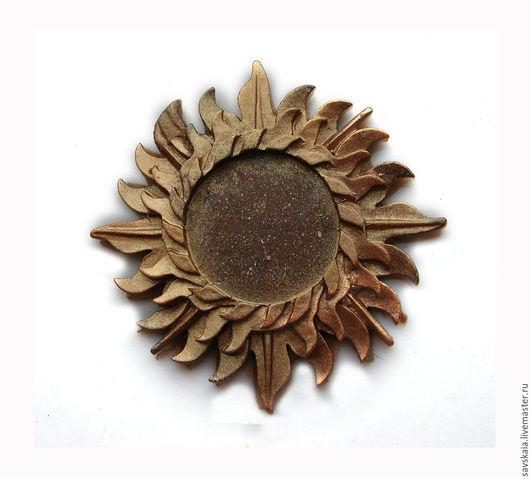 Основа для кабошона, Солнышко, смола Материал смола, основной цвет шоколадный с медным напылением