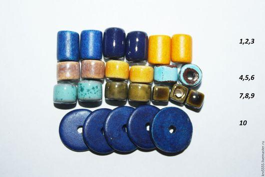 Для украшений ручной работы. Ярмарка Мастеров - ручная работа. Купить Греческая керамика, трубочки, диски, цилиндры. Handmade. Синий
