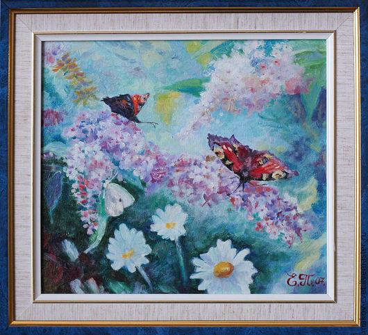 Картины цветов ручной работы. Ярмарка Мастеров - ручная работа. Купить Бабочки на цветах. Handmade. Бабочка, бабочки, цветы, сирень