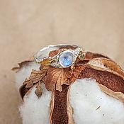 Украшения handmade. Livemaster - original item Unusual silver ring with a moonstone and gold leaf. Handmade.