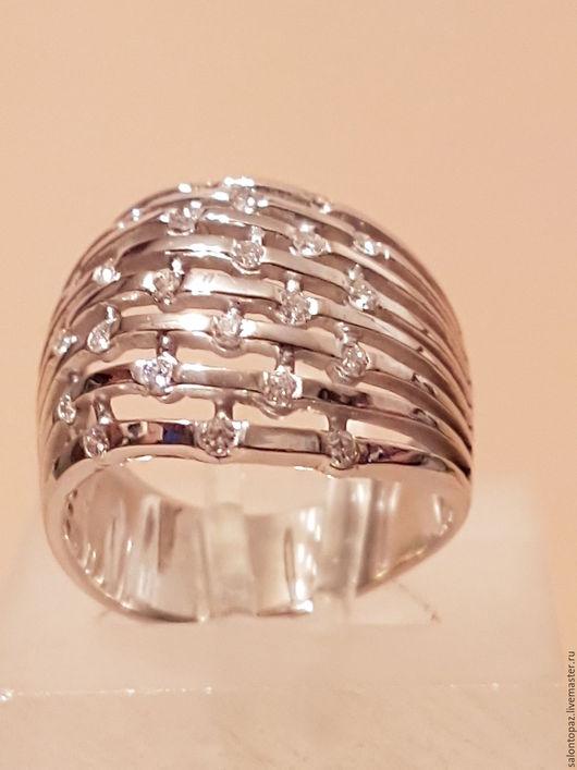 Кольца ручной работы. Ярмарка Мастеров - ручная работа. Купить Кольцо золотое с бриллиантами. Handmade. Белый, кольцо с камнями