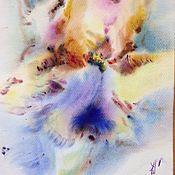 Картины и панно ручной работы. Ярмарка Мастеров - ручная работа Акварели с Ирисами. Handmade.