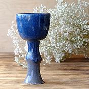 """Посуда ручной работы. Ярмарка Мастеров - ручная работа Бокал """" Сине-серый"""". Handmade."""