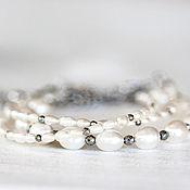 Свадебный салон ручной работы. Ярмарка Мастеров - ручная работа 645_Свадебные браслеты с белым жемчугом и гематитом Браслет для невест. Handmade.