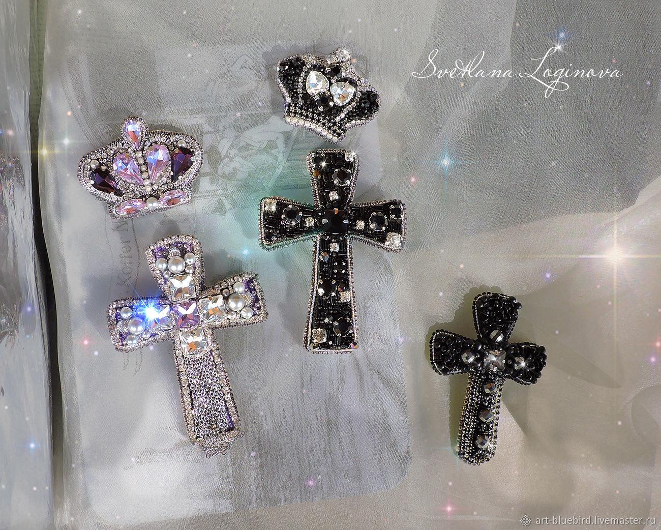 Брошь Корона, брошь Крест, брошь бисером, брошь с кристаллами, Брошь-булавка, Находка,  Фото №1