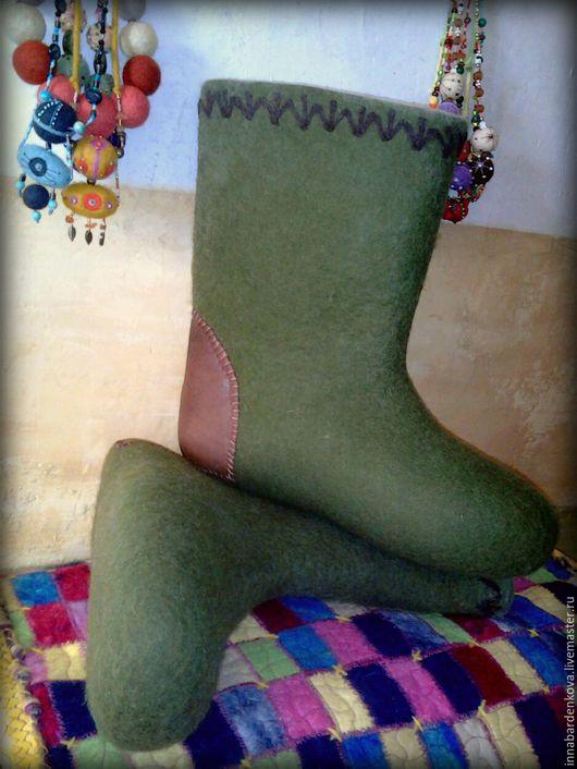 """Обувь ручной работы. Ярмарка Мастеров - ручная работа. Купить валенки мужские """" зеленый лес """". Handmade. Зеленый"""