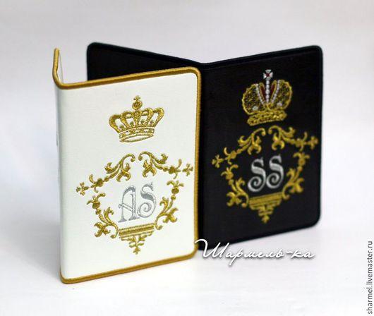 Вышитые обложки для паспорта `Миссис и мистер` с монограммами.   Полезные вещицы от  Шармель-ки