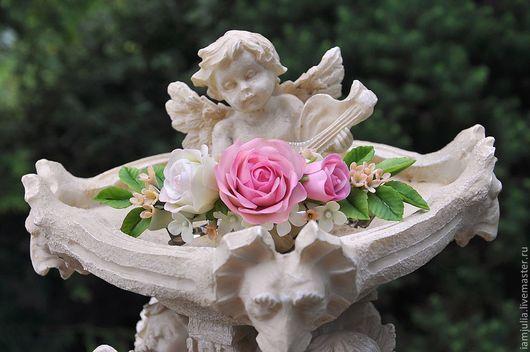 Заколки ручной работы. Ярмарка Мастеров - ручная работа. Купить Заколка с Цветами из Полимерной глины Нежный букет роз. Handmade.