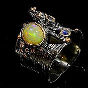 Украшения handmade. Livemaster - original item silver ring with opal and sapphire. Handmade.