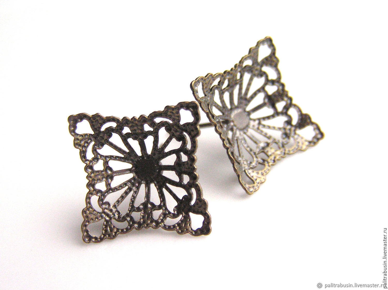 Basis for earrings poussettes filigree bronze, Blanks for jewelry, Tyumen,  Фото №1