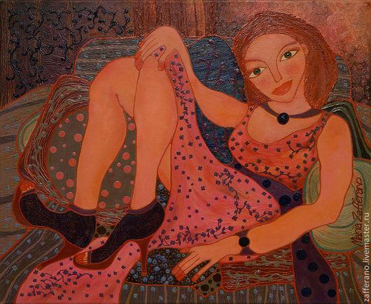 """""""Alla bellezza in visita"""" , oil/canvas.  """"В гостях у красотки"""", масло/холст. Цена указана за авторский постер. Стоимость оригинала уточняйте дополнительно."""