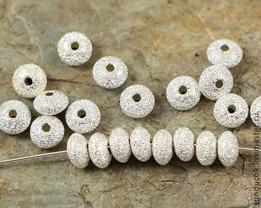 Для украшений ручной работы. Ярмарка Мастеров - ручная работа. Купить 349С Бусины 5,5 мм 1 шт из серебра 925 пробы. Handmade.