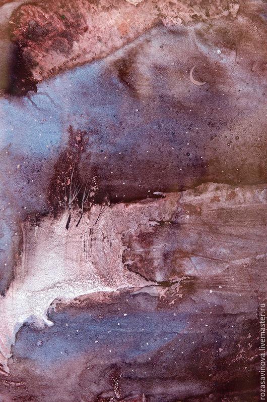 Абстракция ручной работы. Ярмарка Мастеров - ручная работа. Купить Тихая ночь. Handmade. Коричневый, пейзаж, месяц, вода, картина