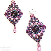 Украшения handmade. Livemaster - original item Earrings with Swarovski crystals Plum and berry dessert. Handmade.