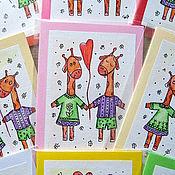 Открытки ручной работы. Ярмарка Мастеров - ручная работа Мини-открытка Влюбленные Жирафики. Handmade.