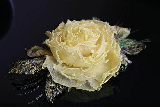 Броши ручной работы. Ярмарка Мастеров - ручная работа. Купить Желтая роза брошь. Handmade. Желтая роза, заколка с цветами